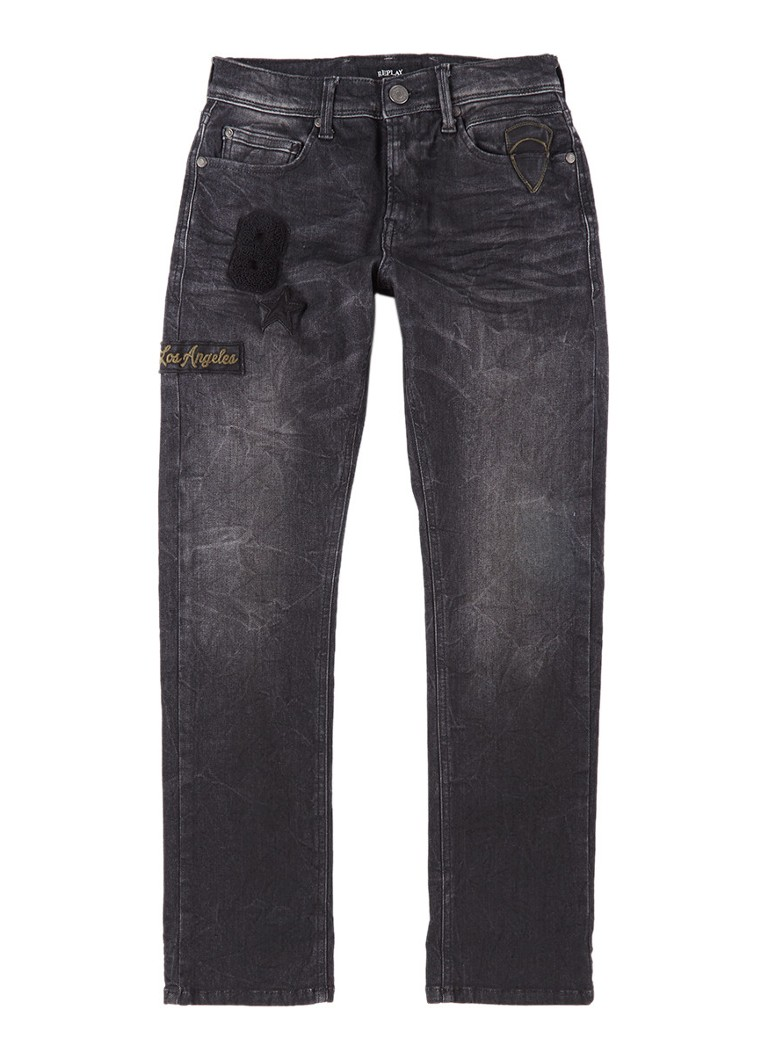 Replay and Sons Regular slim fit jeans met donkere wassing