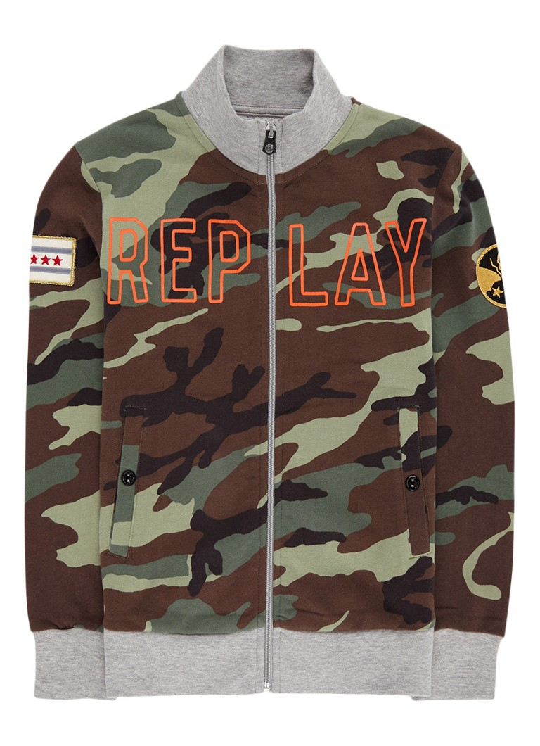 Replay and Sons Sweatvest met camouflageprint en steekzak