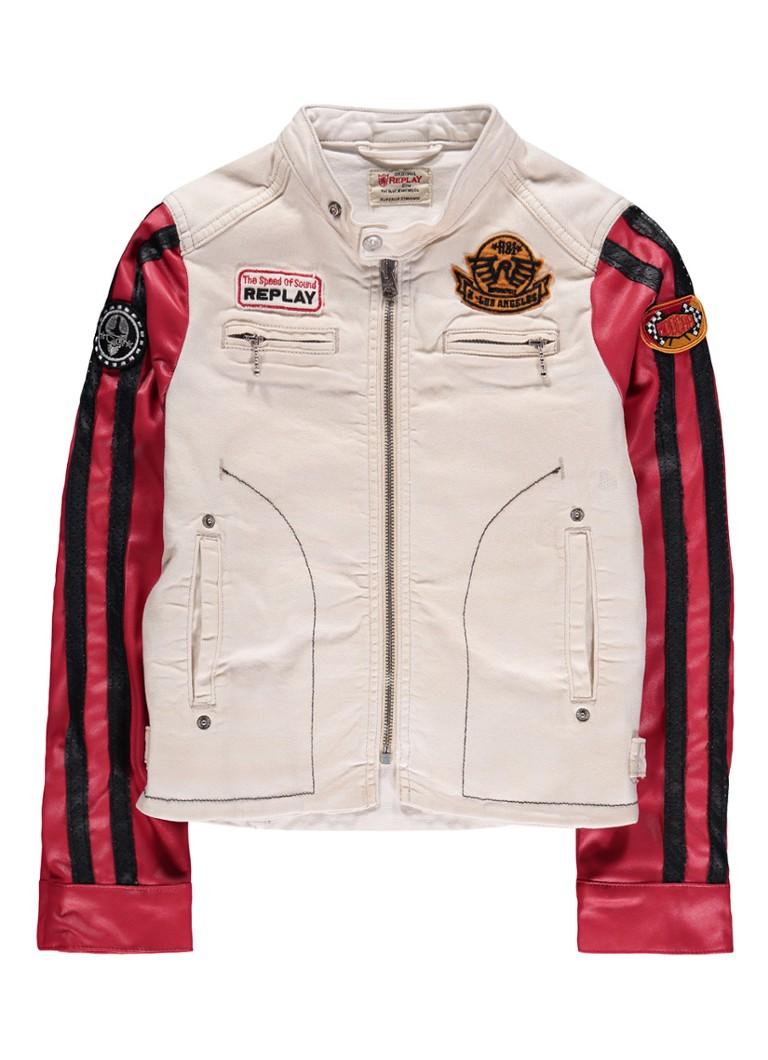 Replay and Sons Biker jacket met imitatieleer en applicaties