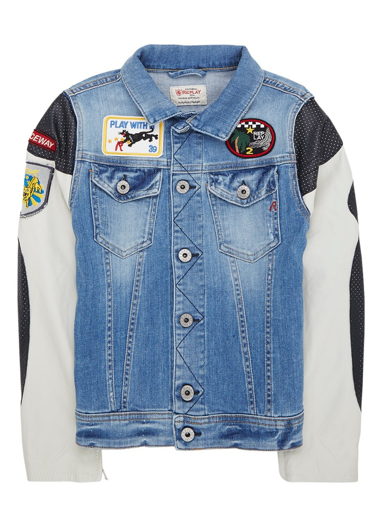 Replay and Sons Denim jack met mouwen van lamsleer en patches