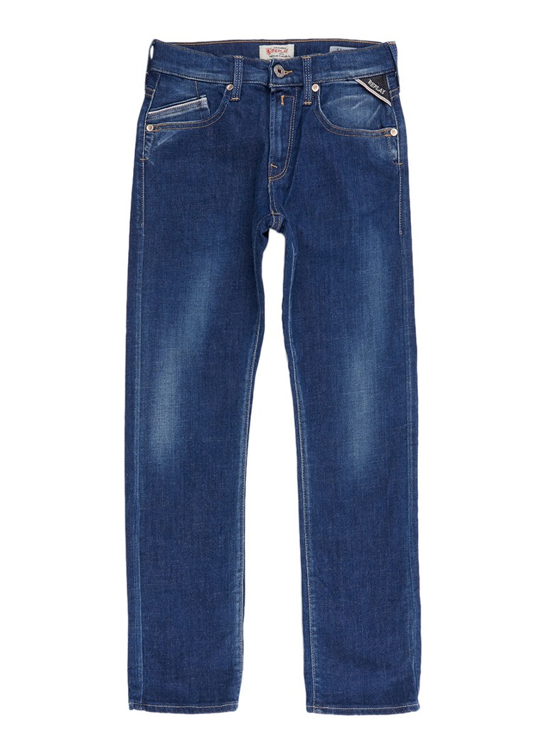 Replay and Sons Straight fit jeans met faded look