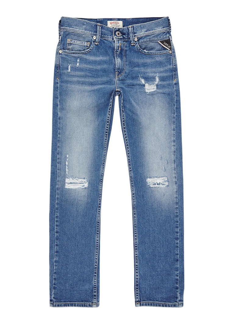 Replay and Sons Slim fit jeans met destroyed detail