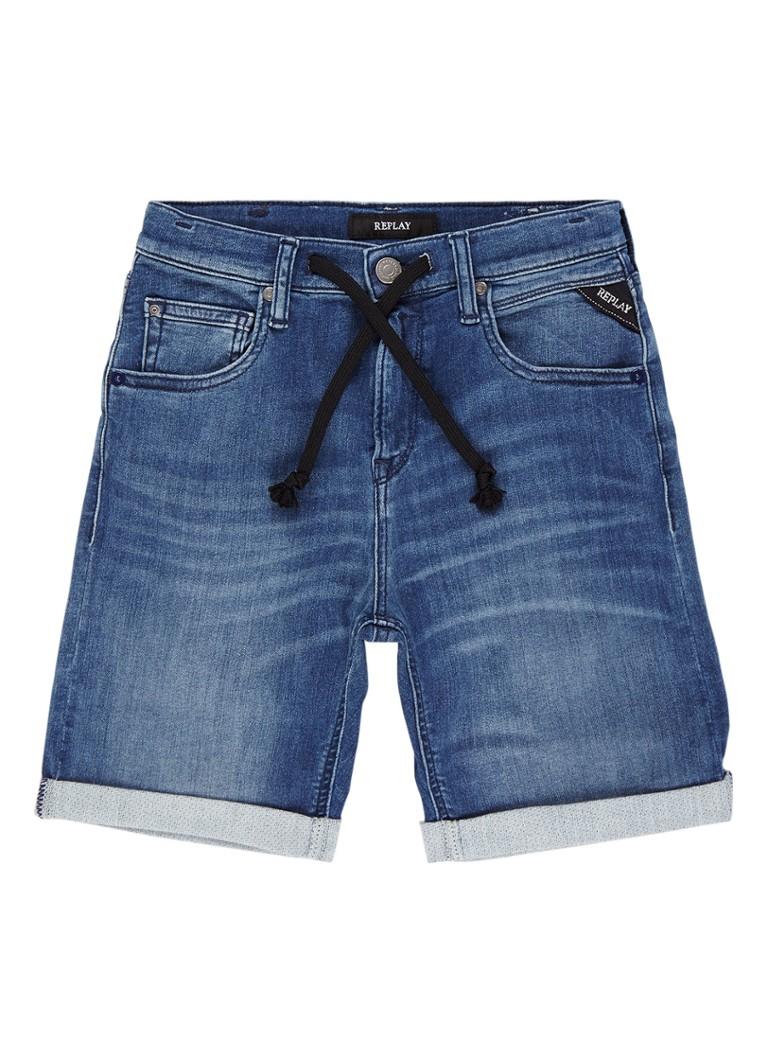 Replay and Sons Denim shorts met trekkoord