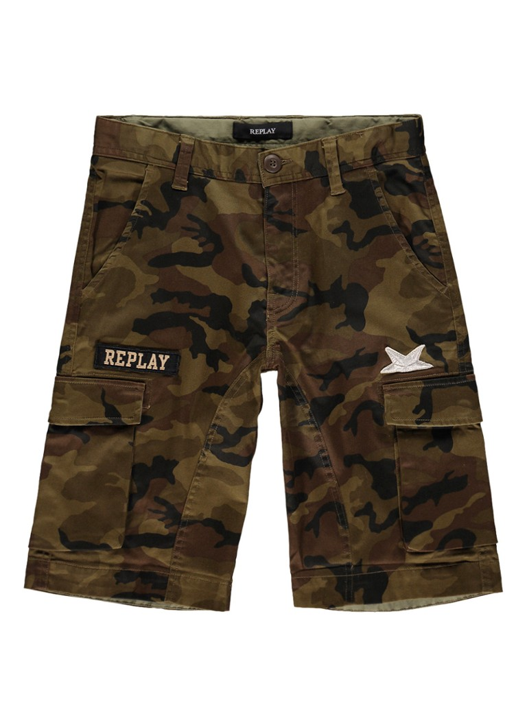 Replay and Sons Cargo shorts met camouflageprint