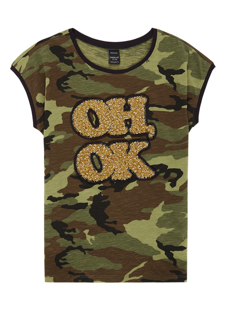 Replay and Sons T-shirt met camouflage print en glitter patch