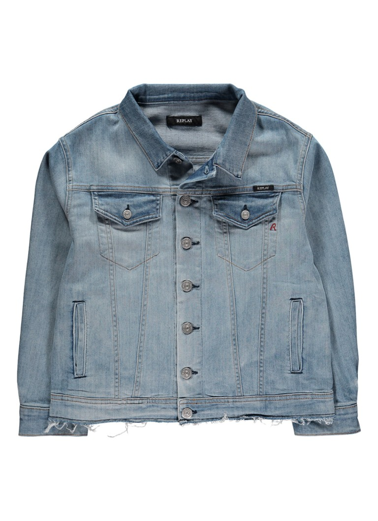 Replay and Sons Denim jack met pailletten applicatie en logo opdruk