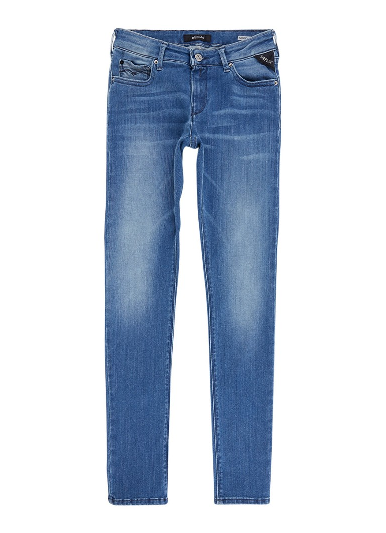 Replay and Sons Hyperflex super skinny fit jeans met faded look