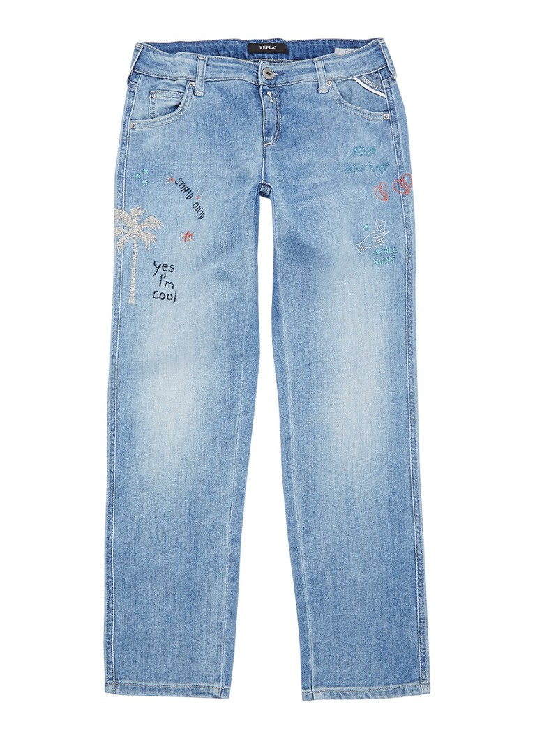 Replay and Sons Slim-carrot fit jeans met borduring