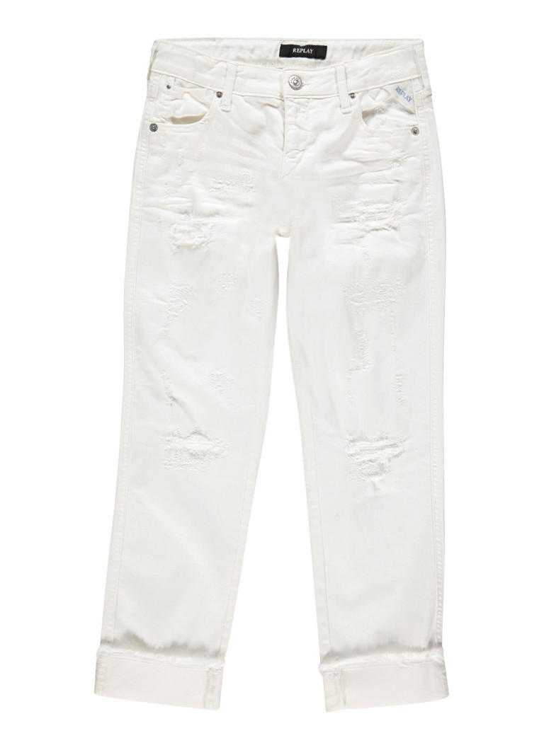 Replay and Sons Slim fit jeans met destroyed look