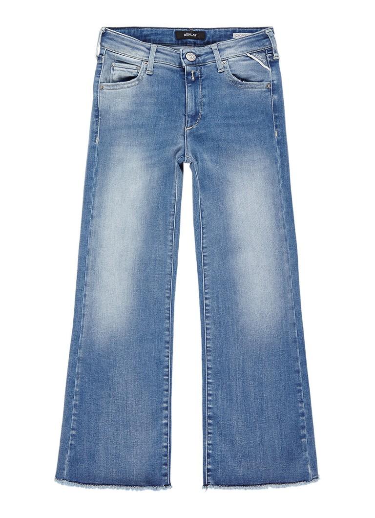Replay and Sons Cropped bootcut jeans met gerafelde zoom
