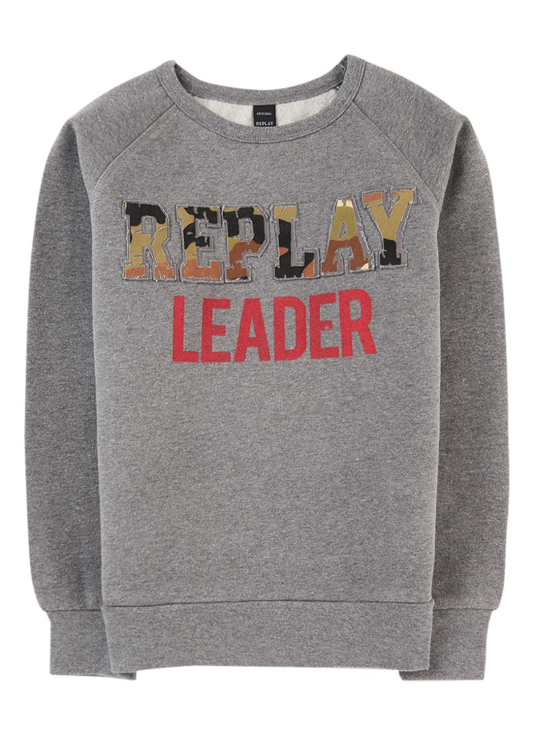 Replay and Sons Sweater met camo logoprint