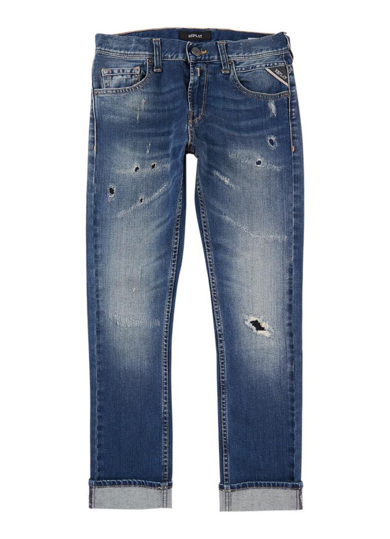 Replay and Sons Slim fit jeans met gedragen look