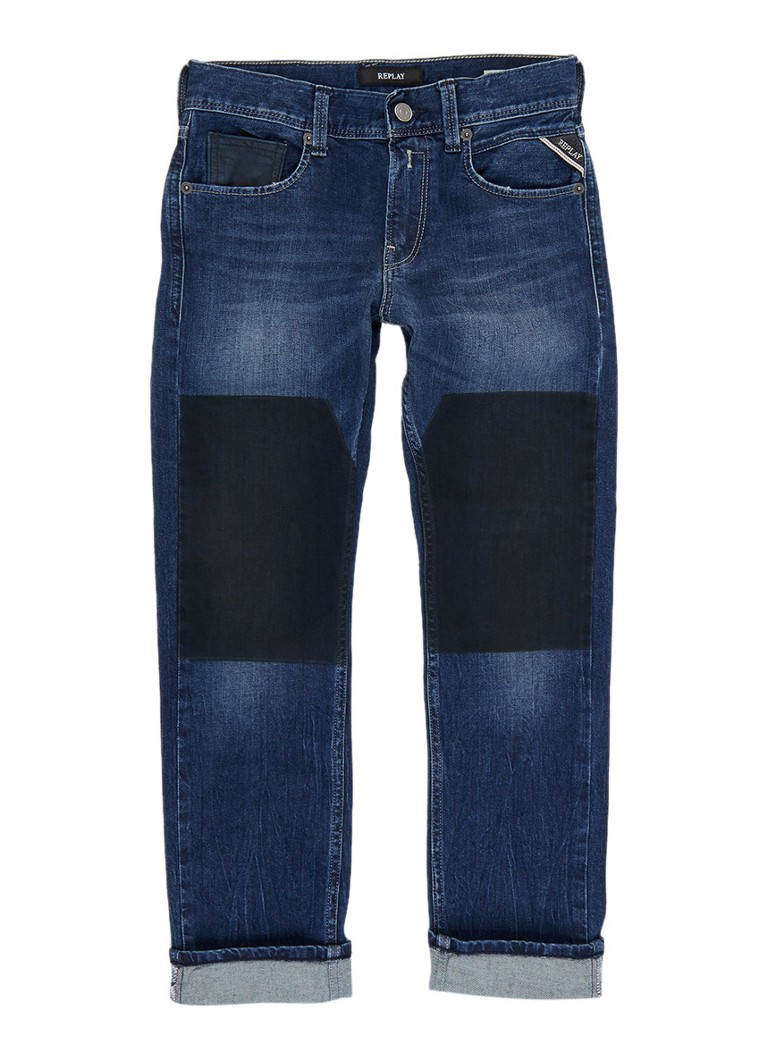 Replay and Sons Slim fit jeans met patchwork look
