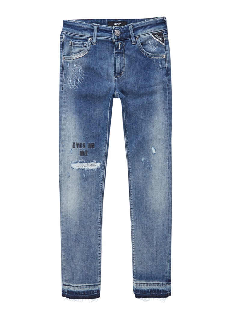 Replay and Sons Super skinny fit jeans met destroyed details