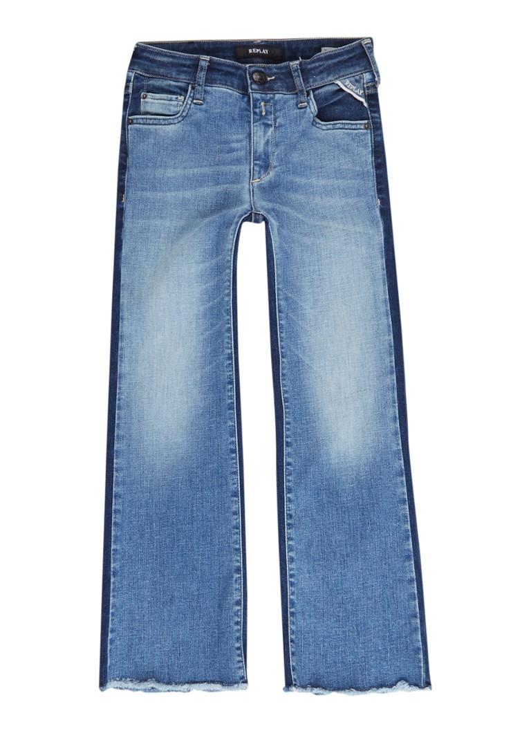 Replay and Sons Flared fit jeans met gerafelde zoom