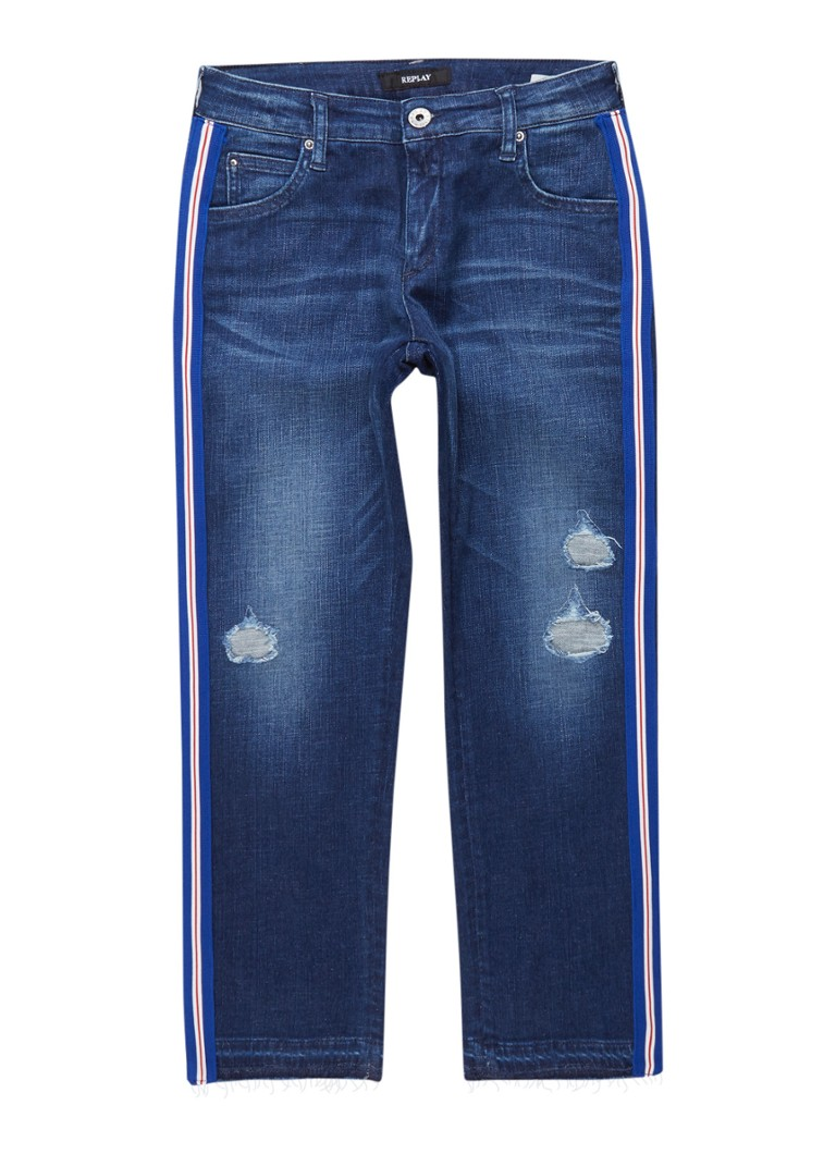 Replay and Sons Regular fit jeans met destroyed details