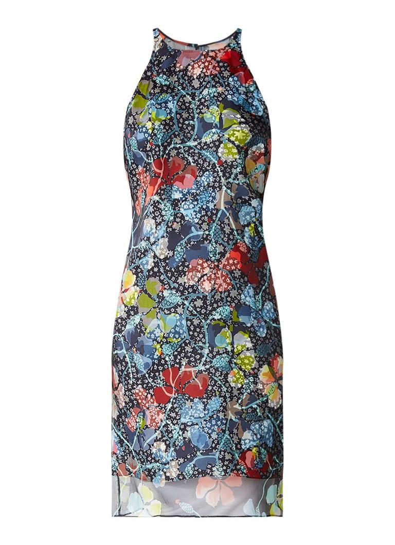 L K  Bennett Carmel mouwloze jurk met overlay van zijde