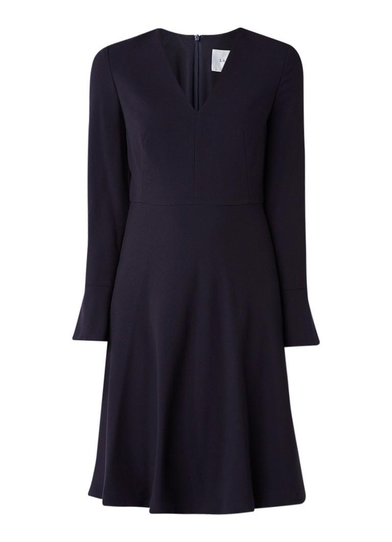 L.K.Bennett Amana A-lijn jurk met V-hals donkerblauw