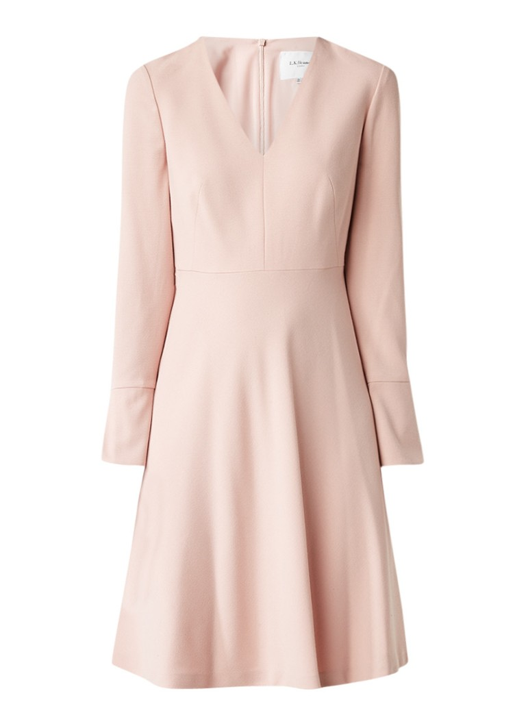 L.K.Bennett Amana A-lijn jurk met V-hals lichtroze