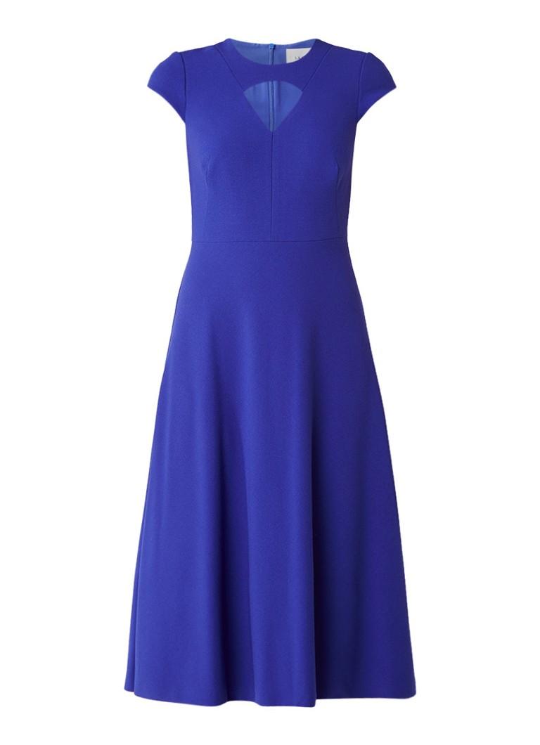 L.K.Bennett Cyra A-lin jurk met cut-out detail kobaltblauw