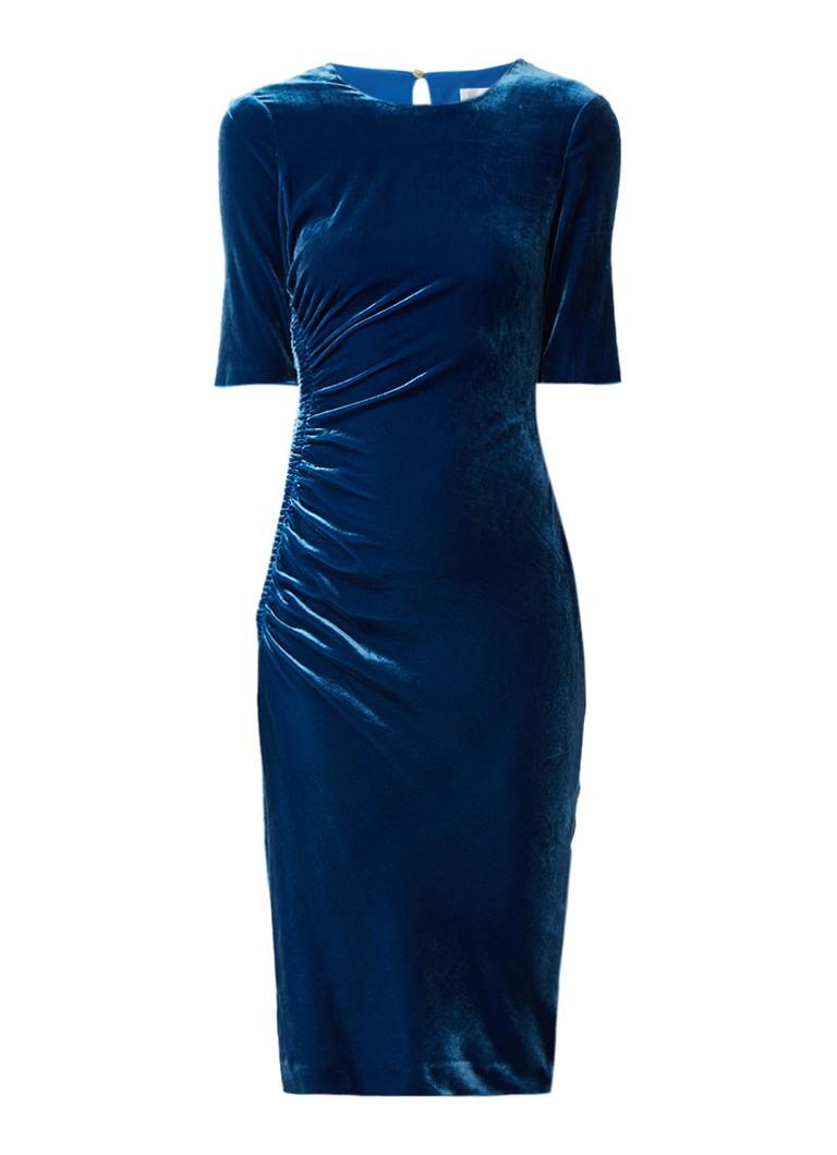 L.K.Bennett Kara bodycon jurk van fluweel met plooidetail blauw