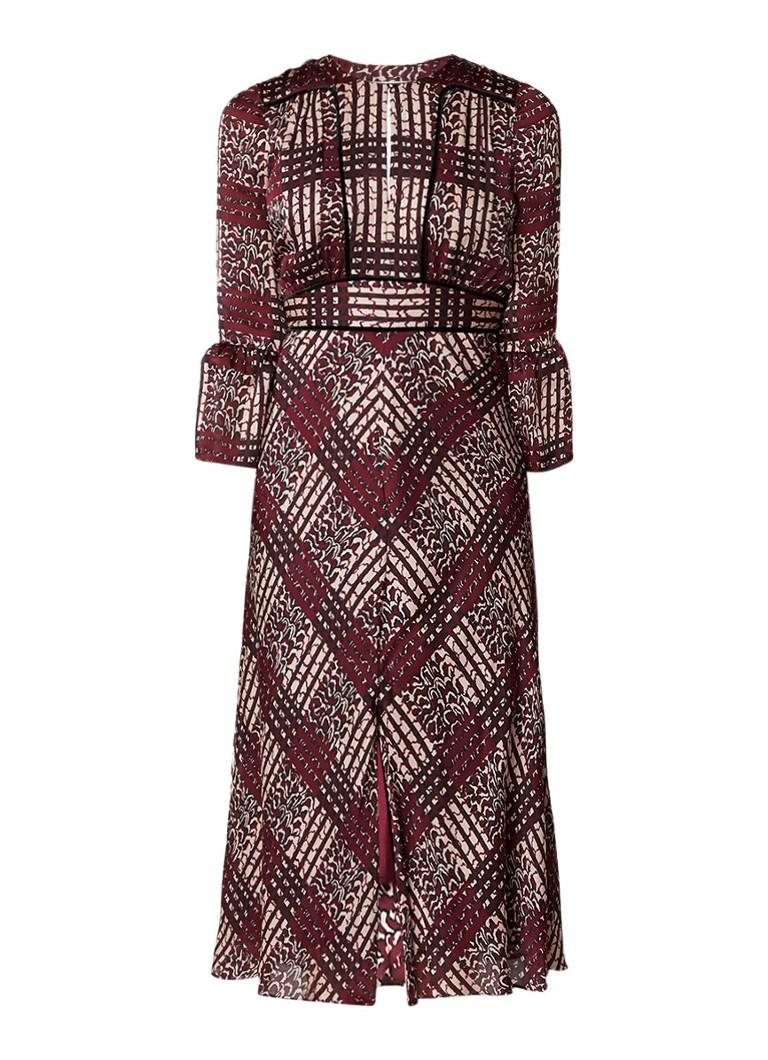 L.K.Bennett Alys maxi-jurk van zijde met dessin bordeauxrood