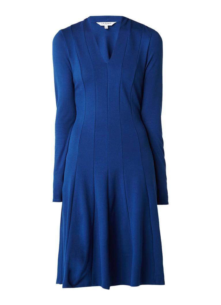 L.K.Bennett Aviana A-lijn jurk met siernaad kobaltblauw