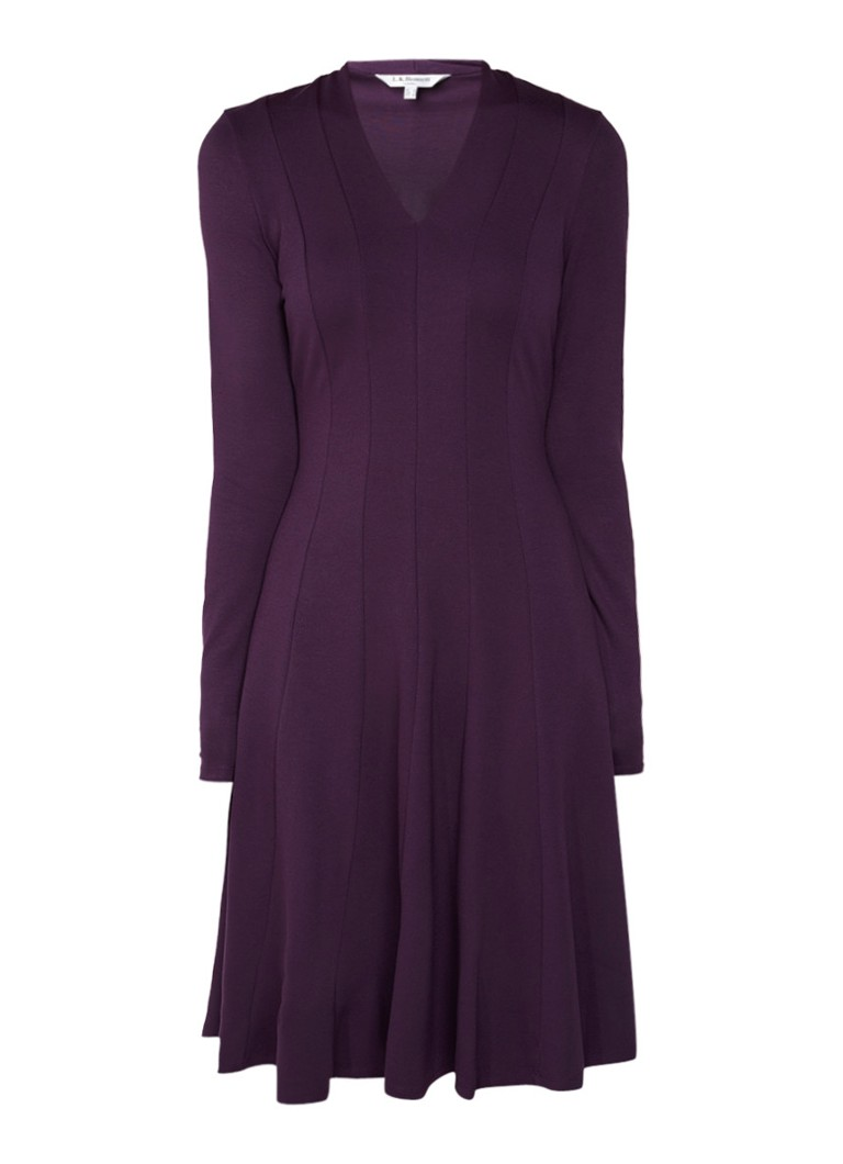 L.K.Bennett Aviana A-lijn jurk met siernaad aubergine