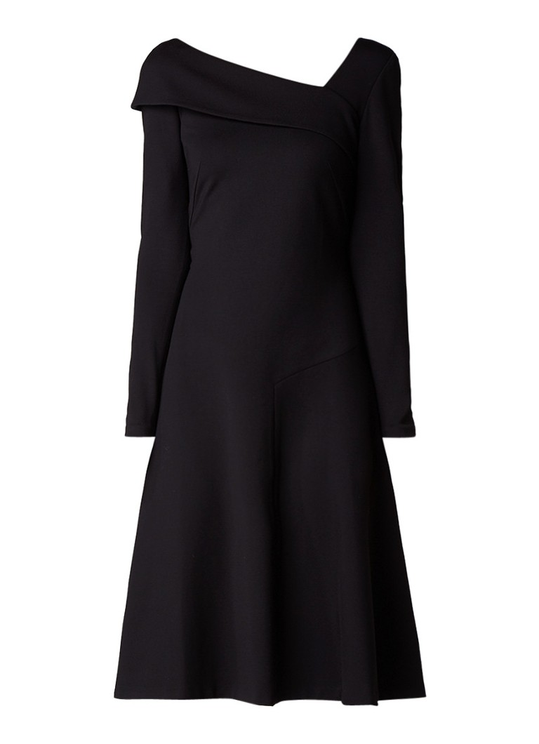 L.K.Bennett Reema jurk van jersey met asymmetrische halslijn zwart