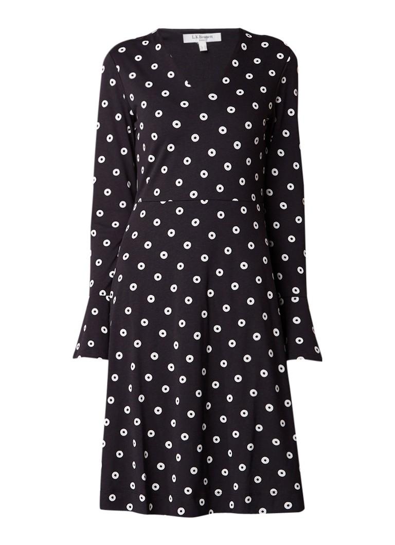 L.K.Bennett Aman A-lijn jurk met stippendessin en trompetmouw zwart