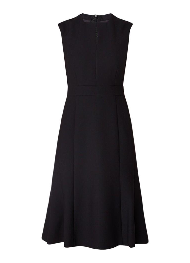 L.K.Bennett Mouwloze A-lijn midi-jurk met keyhole zwart