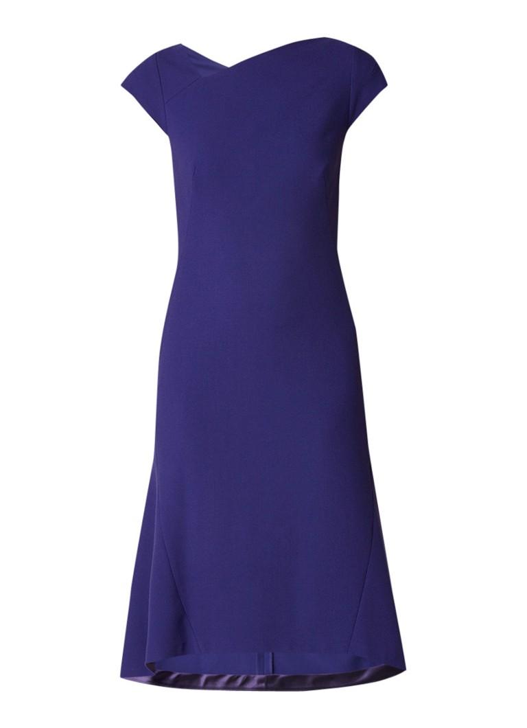 L.K.Bennett Ire flared jurk met asymmetrische halslijn paars