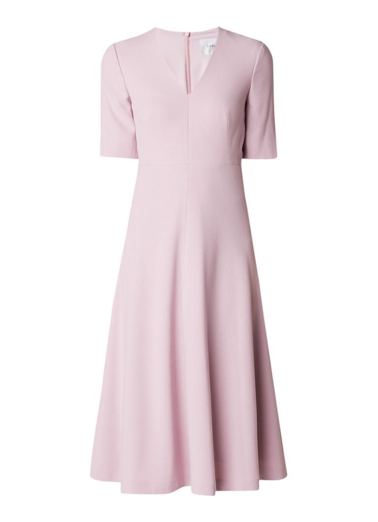 L.K.Bennett Rosala A-lijn jurk met V-hals lichtroze