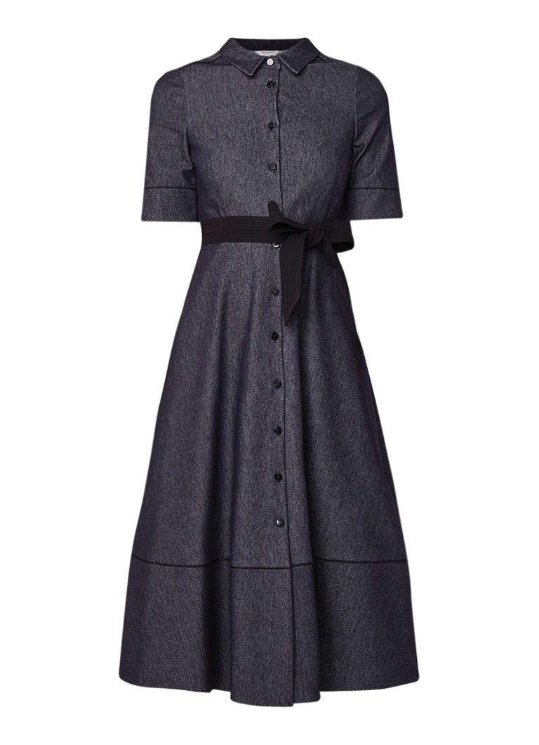 L.K.Bennett Renee denim A-lijn blousejurk met strikceintuur indigo