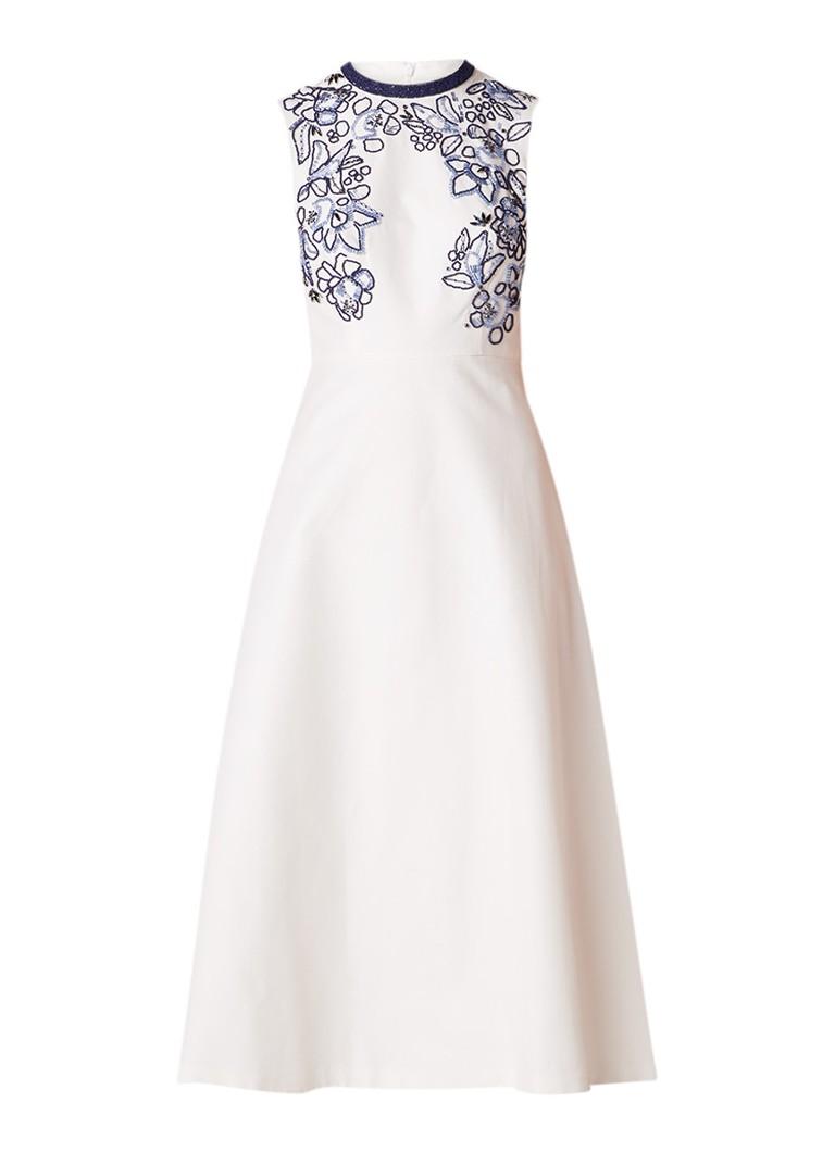 L.K.Bennett Verity A-lijn jurk in zijdeblend met kralendecoratie creme