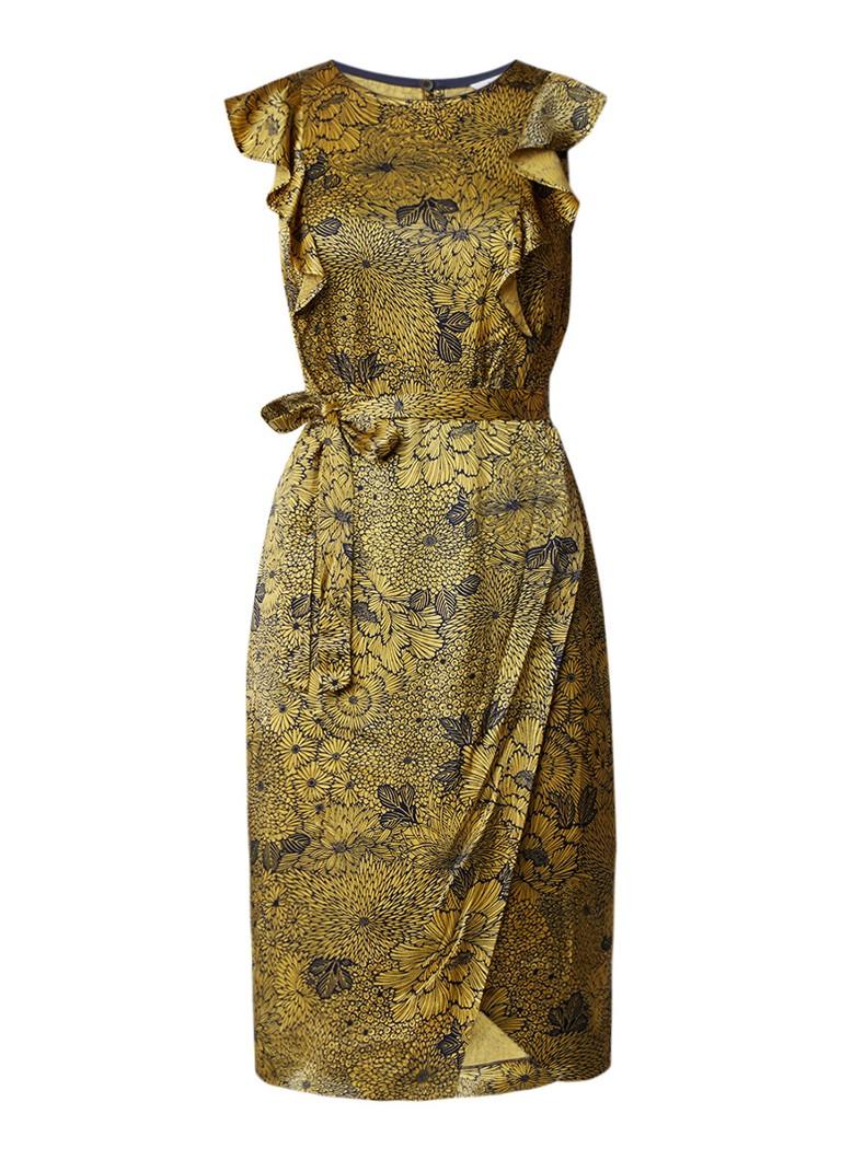 L.K.Bennett April mouwloze midi-jurk met ruches en bloemendessin donkergeel
