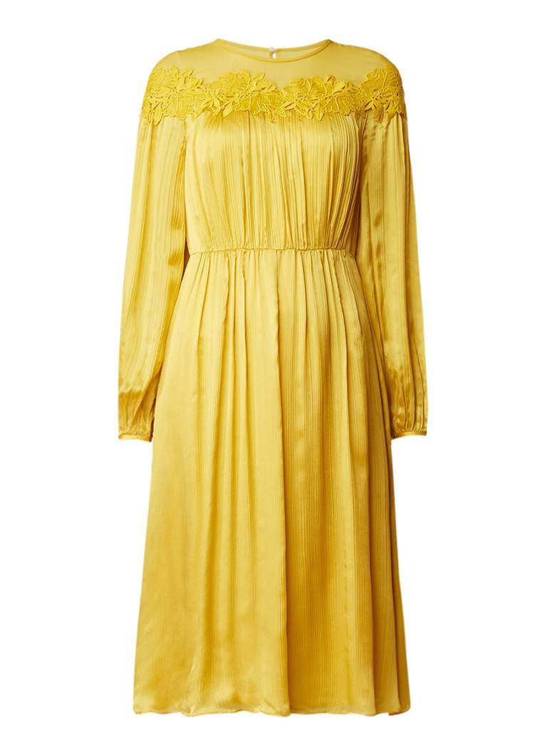 L.K.Bennett Isabel midi-jurk van zijde met kant okergeel