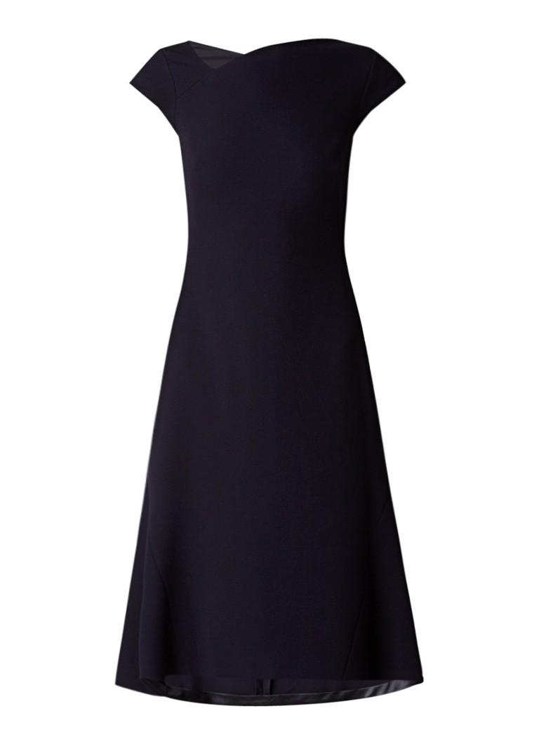 L.K.Bennett Sloane A-lijn midi-jurk met asymmetrische halslijn donkerblauw