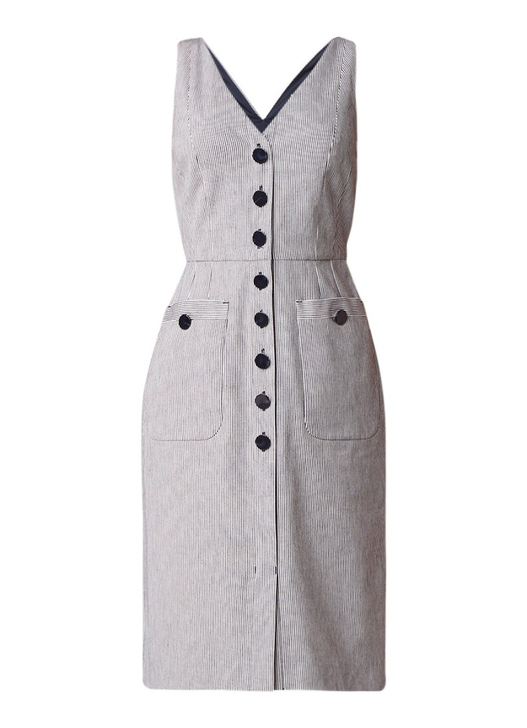 L.K.Bennett Juliet mouwloze midi-jurk met knoopsluiting donkerblauw
