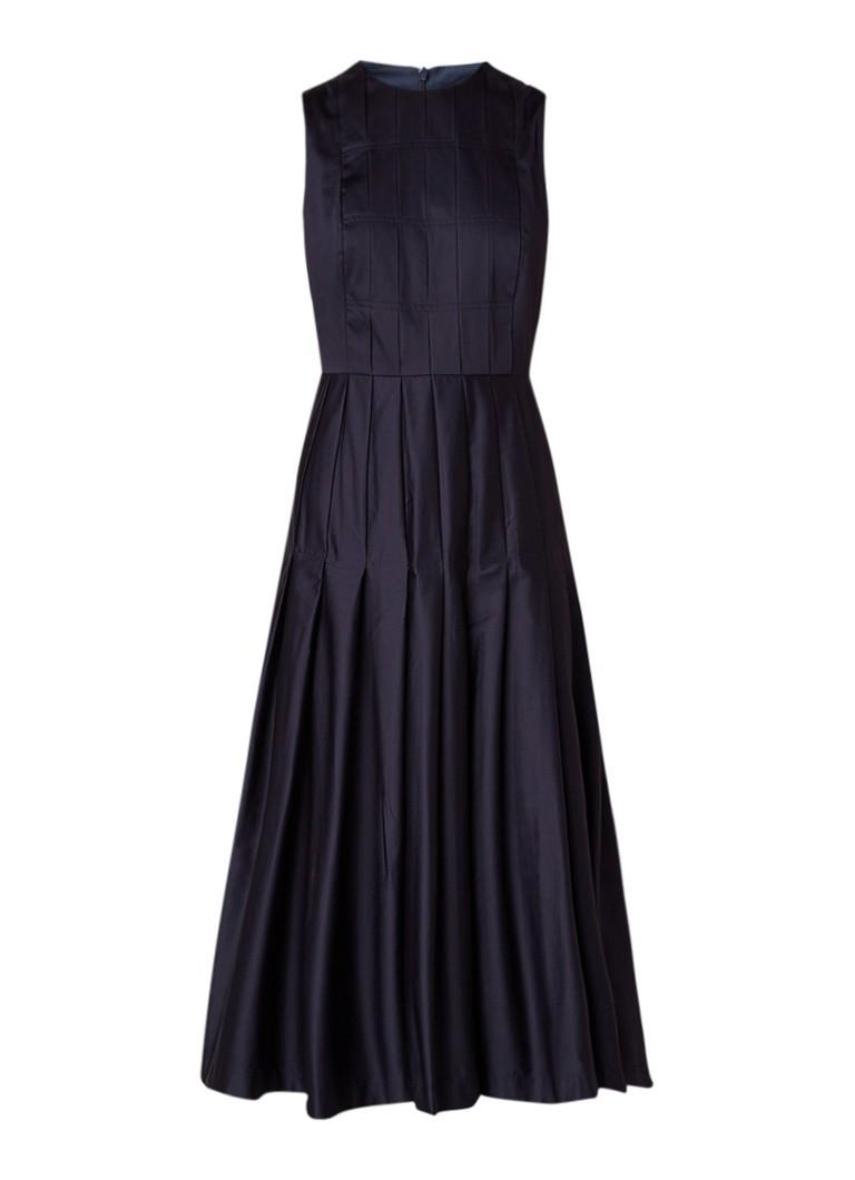 L.K.Bennett Lianne geplooide midi-jurk donkerblauw