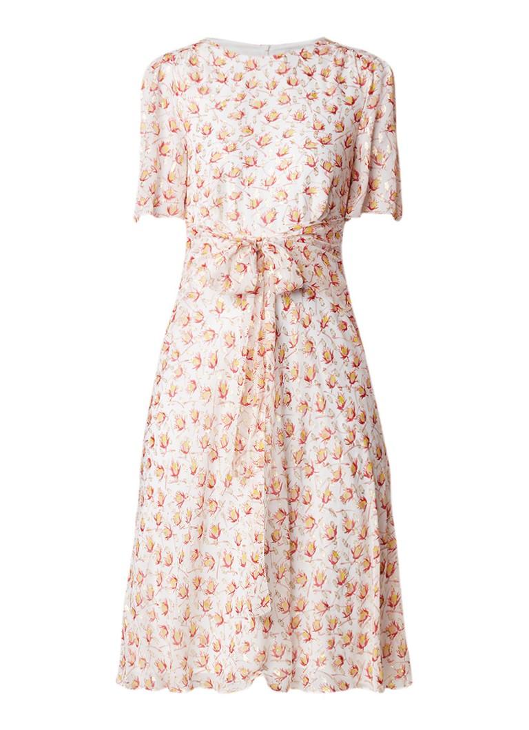 L.K.Bennett Eve midi-jurk van zijde met lurex en dessin creme