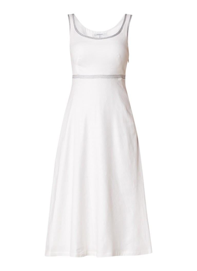 L.K.Bennett Aurelie A-lijn jurk in linnenblend met gestikte details gebroken wit