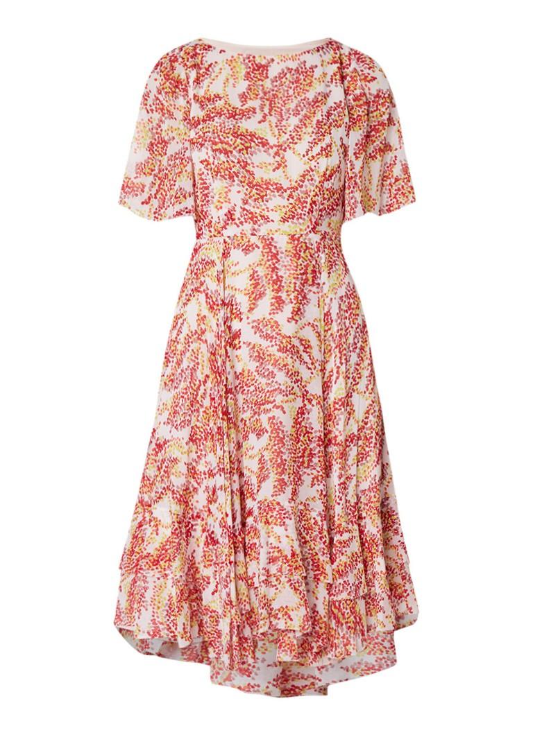 L.K.Bennett Mariel A-lijn jurk van crêpe met dessin lichtroze