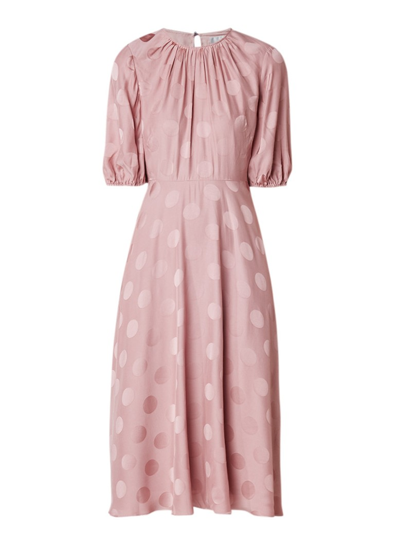 L.K.Bennett Ray midi-jurk van satijn met gestipt dessin oudroze