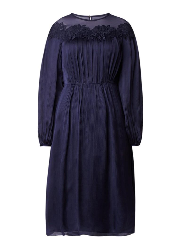 L.K.Bennett Isabel midi-jurk van zijde met kant donkerblauw