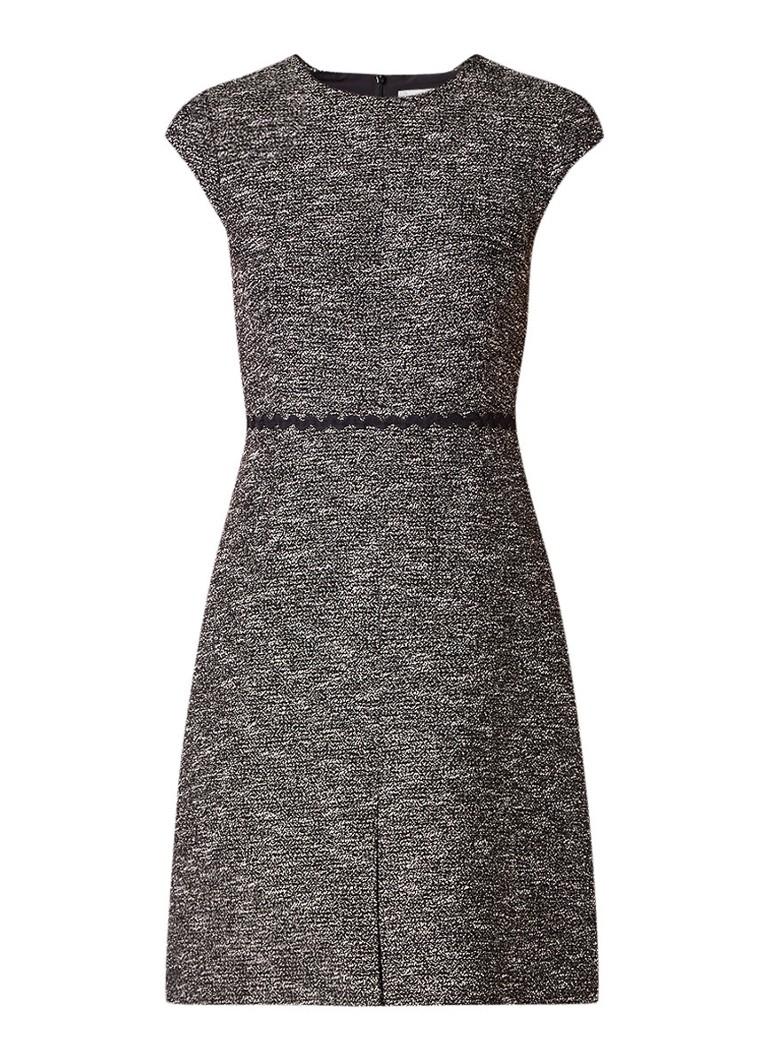 L.K.Bennett Rory A-lijn jurk van tweed met zigzag detail zwart