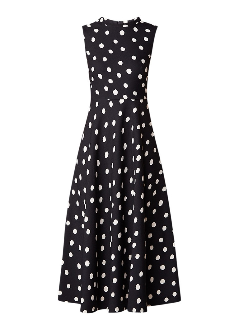 L.K.Bennett Marlina A-lijn jurk met gestipt dessin zwart