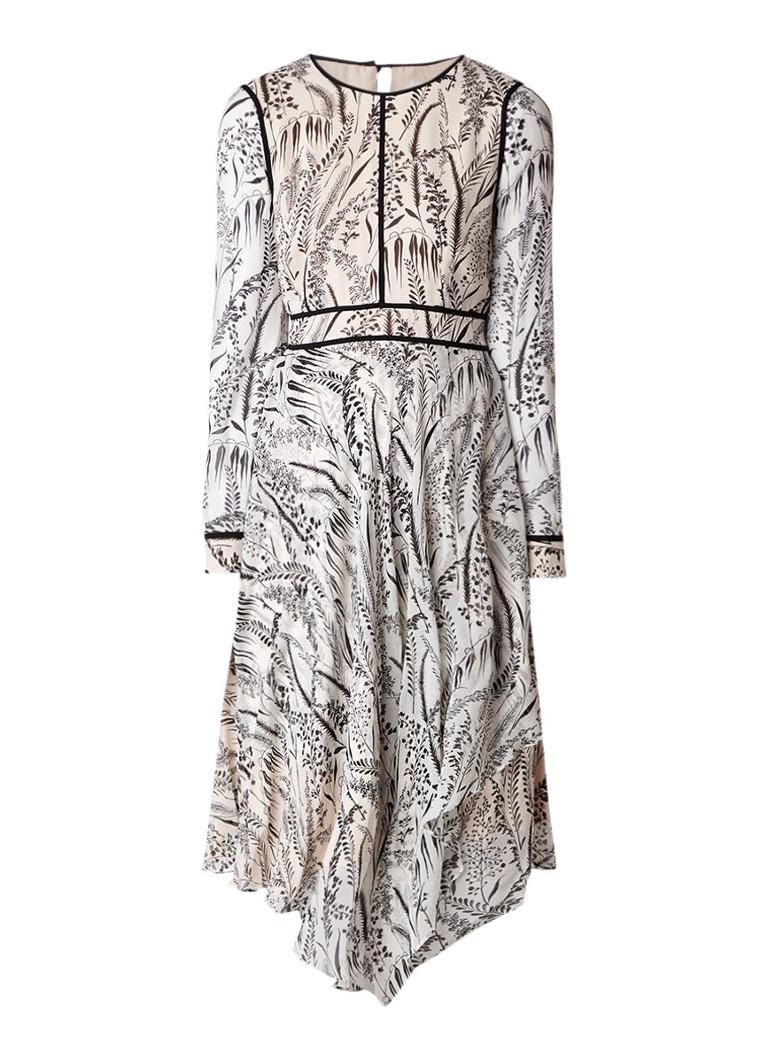 L.K.Bennett Linnea jurk van zijde met botanische print creme