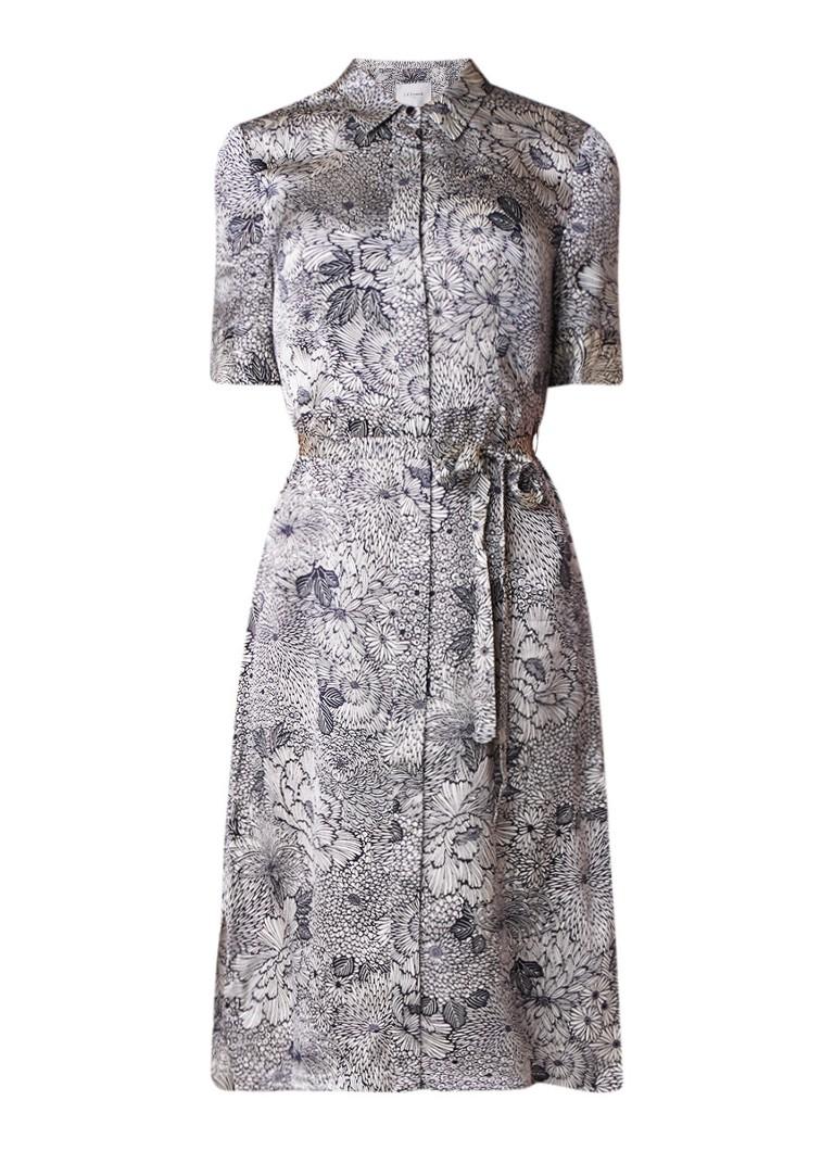 L.K.Bennett Cheska blousejurk van zijde met dessin donkerblauw