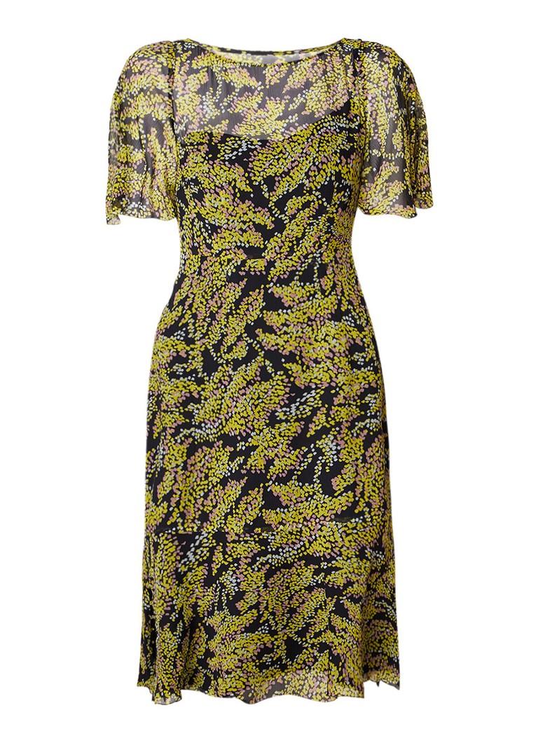 L.K.Bennett Holli midi-jurk van zijde met bloemendessin geel